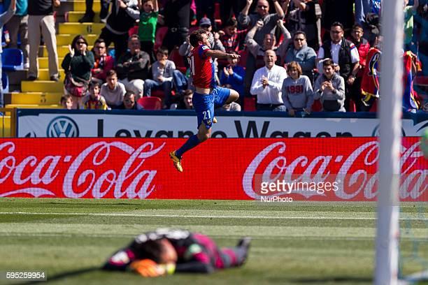 Giuseppe Rossi of Levante UD celebrates during la liga match between Levante UD and Valencia CF at Ciutat de Valencia Stadium in Valencia on March 13...