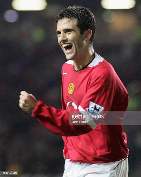 Giuseppe Rossi of Manchester United celebrates scoring the third goal during the Carling Cup third round match between Manchester United and Barnet...