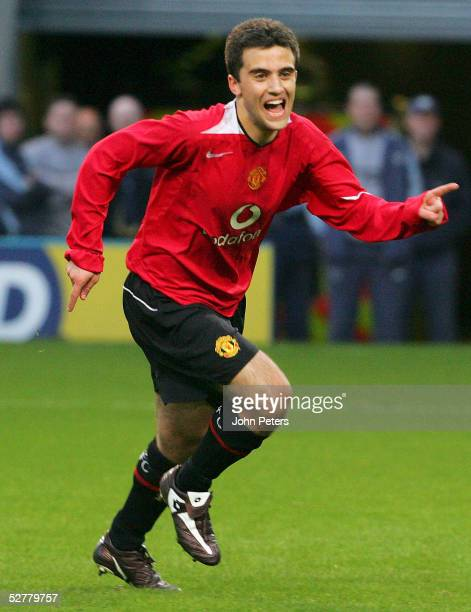 Giuseppe Rossi of Manchester United celebrates scoring their first goal from the penalty spot during the Manchester Senior Cup Final match between...