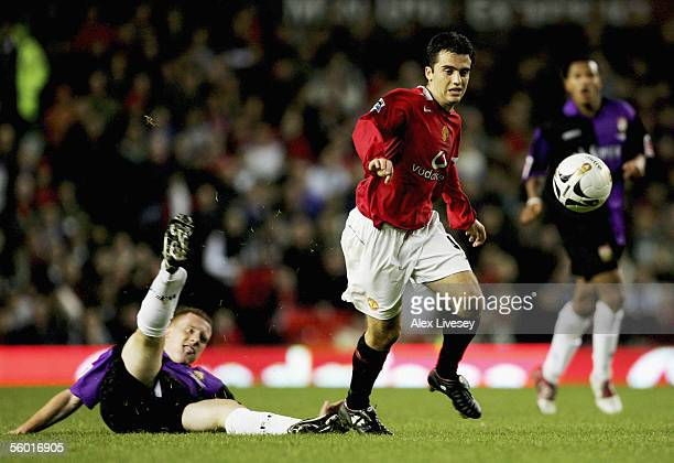 Giuseppe Rossi of Manchester United leaves Nicky Bailey of Barnet trailing during the Carling Cup third round match between Manchester United and...