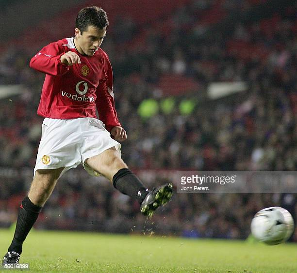 Giuseppe Rossi of Manchester United scores the third goal during the Carling Cup third round match between Manchester United and Barnet at Old...