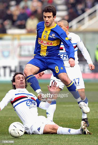 Giuseppe Rossi of Parma and Sergio Volpi of Sampdoria in action during the Serie A match between Parma and Sampdoria at the Ennio Tardini stadium on...