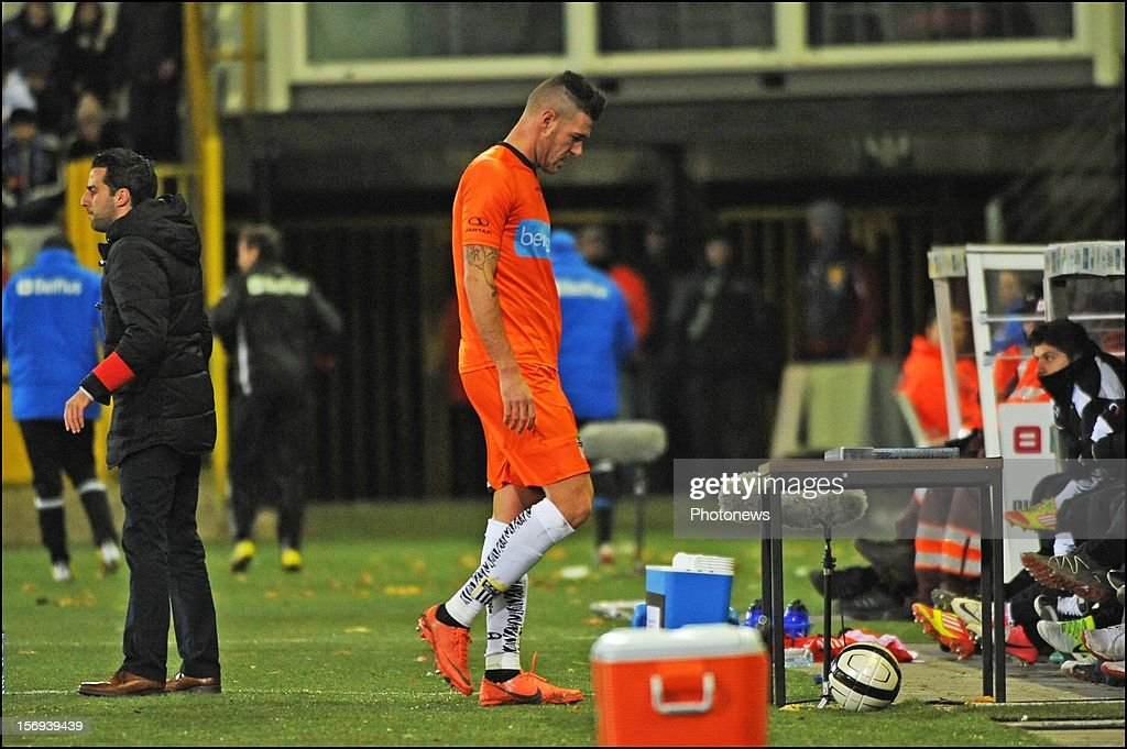 Giuseppe Rossini of Charleroi is sent off by referee after red card pictured during the Jupiler League match between Club Brugge K.V and R.C.S.Charleroi November 25, 2012 in Brugge, Belgium.