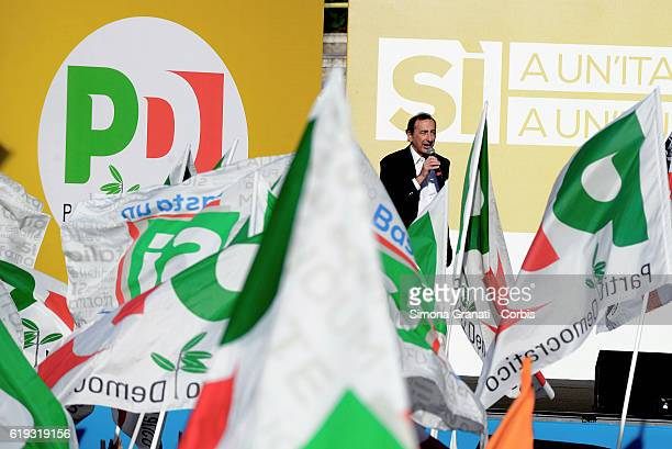 Giuseppe Sala Mayor of Milan speaks during the demonstration of the Democratic Party in the Piazza del Popolo to vote 'Yes' to the Constitutional...