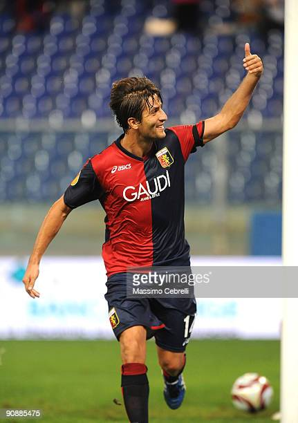 Giuseppe Sculli of Genoa CFC celebrates second goal during the UEFA Europa League Group B match between Genoa CFC and SK Slavia Prague at Luigi...