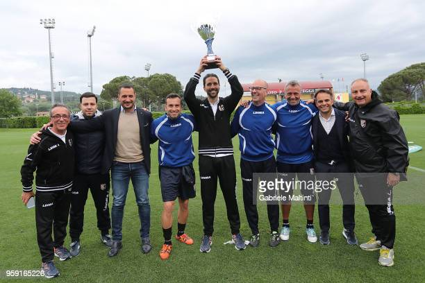 Giuseppe Scurto and his staff of US Citta' di Palermo U19 celebrate the victory during the SuperCoppa primavera 2 match between Novara U19 and US...