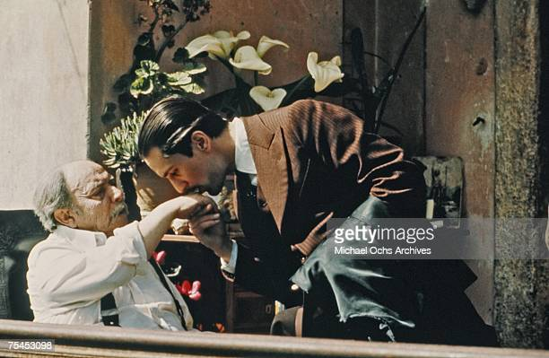 Giuseppe Sillato and Robert De Niro perform a scene in The Godfather Part II directed by Francis Ford Coppola in 1974 in Sicily Italy