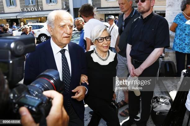 Giuseppe Tedesco and Anna Fendi attend during the Carla Fendi Funeral at Chiesa degli Artisti on June 22 2017 in Rome Italy