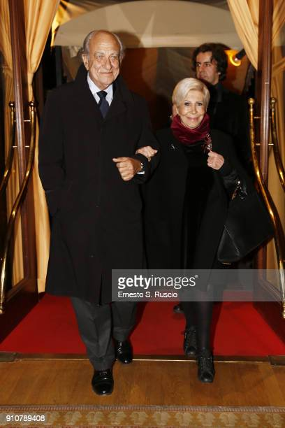 Giuseppe Tedesco and Anna Fendi attend the Renato Balestra show during Altaroma on January 26 2018 in Rome Italy