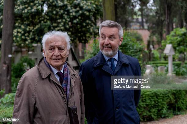 Giuseppe Vacca and Lorenzo Guerini Deputy Secretary of the PD pay homage to the tomb of Antonio Gramsci sited in the third area of the Protestant...