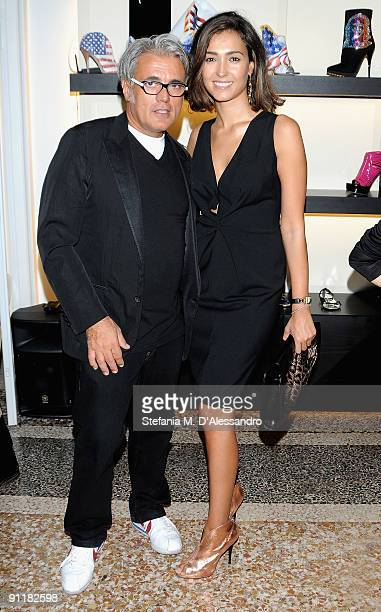 Giuseppe Zanotti and Caterina Balivo attend the presentation of Vicini Spring/Summer Collection as part of Milan Fashion Week on September 26 2009 in...