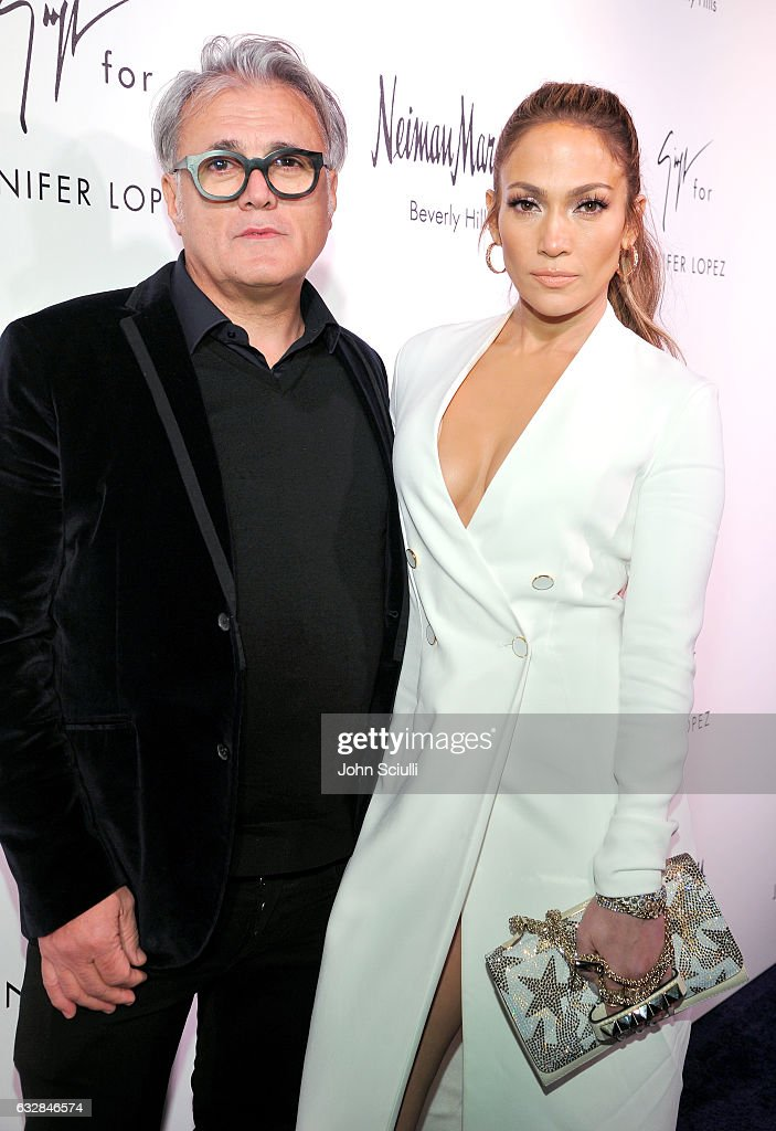 Giuseppe Zanotti (L) and Jennifer Lopez attend the Giuseppe for Jennifer Lopez Launch at Neiman Marcus Beverly Hills on January 26, 2017 in Beverly Hills, California.