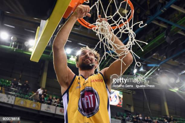GIuseppePoeta captain of Fiat cuts the net of the basket ascelebrate during the LBA LegabLasket match ifinal of Coppa Italia between Auxilium Fiat...