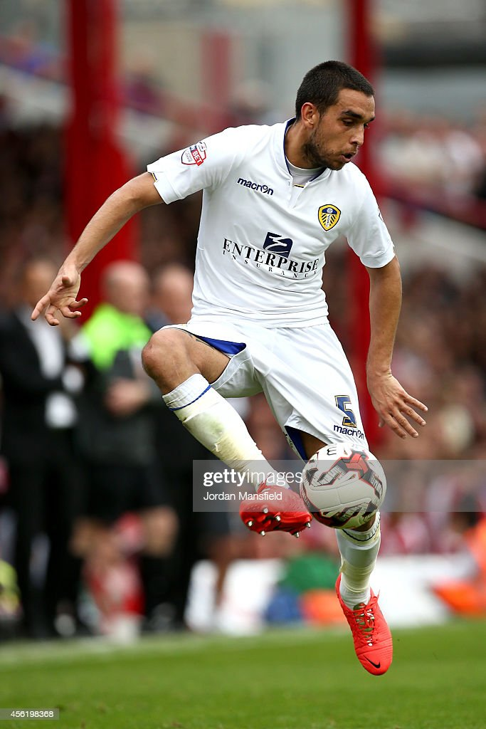 Giuseppi Bellusci of Leeds controls the ball during the Sky Bet Championship match between Brentford and Leeds United at Griffin Park on September 27, 2014 in Brentford, England.