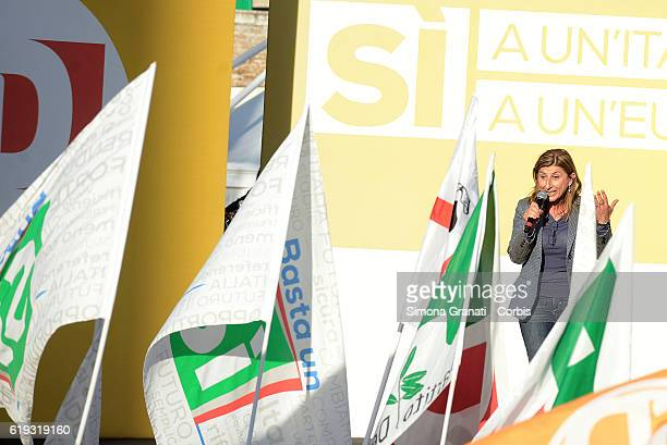 Giusi Nicolini Mayor of Lampedusa speaks during the demonstration of the Democratic Party in Piazza del Popolo to vote Yes to the Constitutional...