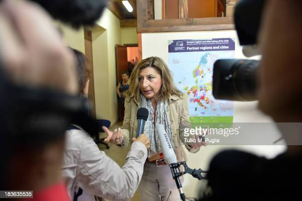 Giusi Nocolini Mayor of Lampedusa speaks with journalists on October 8 2013 in Lampedusa Italy The search for bodies continues off the coast of...