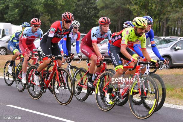 Giusseppe Fonzi Busato of Italy and Team Wilier TriestinaSelle Italia / Marco Mathis of Germany and Team KatushaAlpecin / Alberto Bettiol of Italy...