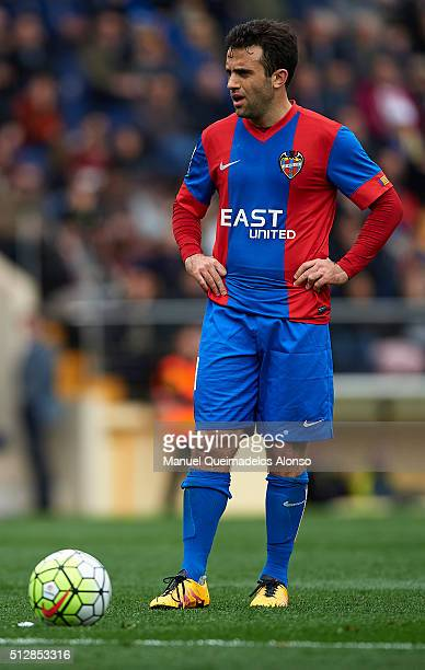 Giusseppe Rossi of Levante looks on during the La Liga match between Villarreal CF and Levante UD at El Madrigal on February 28 2016 in Villarreal...
