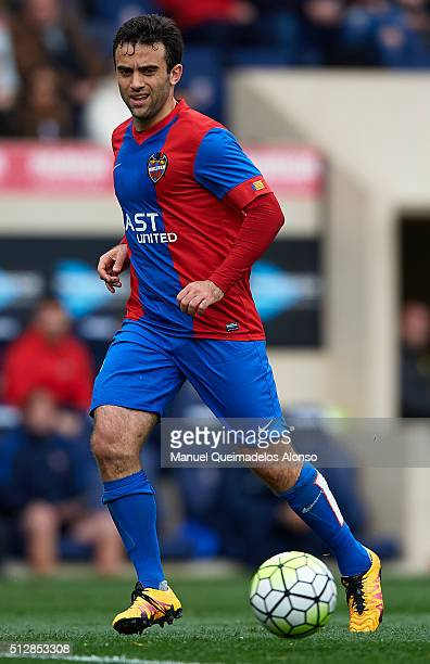 Giusseppe Rossi of Levante runs with the ball during the La Liga match between Villarreal CF and Levante UD at El Madrigal on February 28 2016 in...