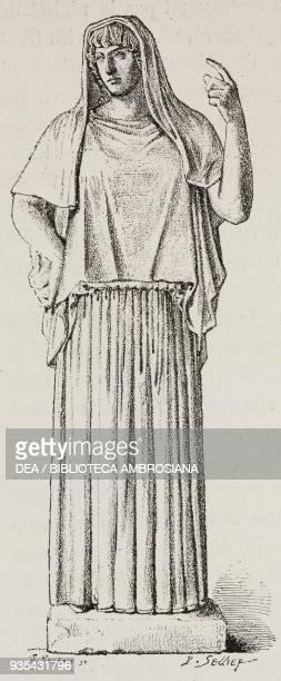 Giustiniani Hestia marble statue illustration from Histoire des grecs volume 1 Formation du peuple grec by Victor Duruy