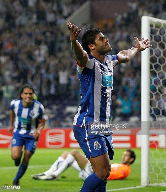 Givalnildo Vieira 'Hulk' of FC Porto celebrates his side third goal during the UEFA Europa League semi final first leg match between FC Porto and...