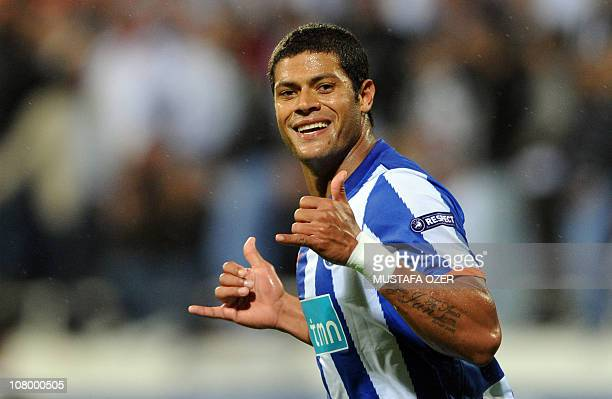 Givanildo Sousa of FC Porto celebrates after his goal against Besiktas Istanbul during the UEFA Europa League Group L soccer match at Inonu stadium...