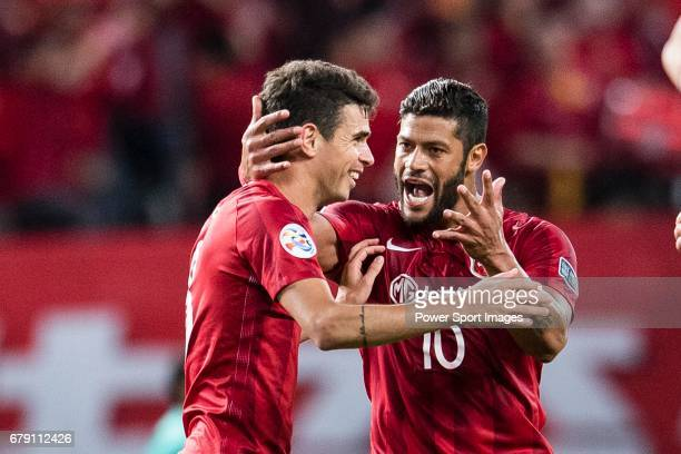 Givanildo Vieira de Sousa Hulk of Shanghai SIPG FC and Oscar Emboada celebrating a score during the AFC Champions League 2017 Group F match between...