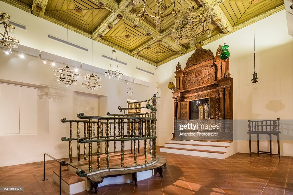 Givat Ram, Israel Museum, Jewish Art and Life Wing, Interior of the Kadavumbagam synagogue (Cochin, Southern India, AD 1539â€'44, wooden decoration: 17thâ€'18th centuries ) : Stock Photo