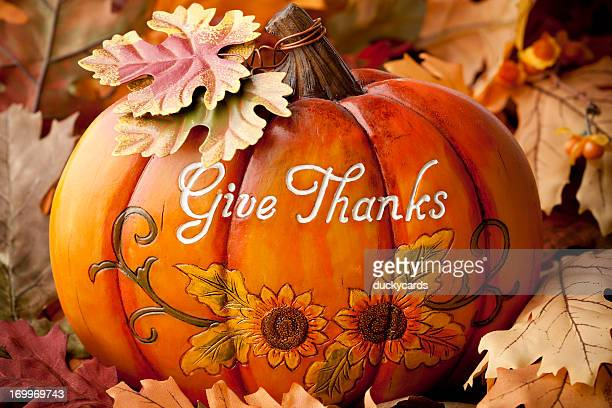 give thanks thanksgiving pumpkin - happy thanksgiving text stock pictures, royalty-free photos & images