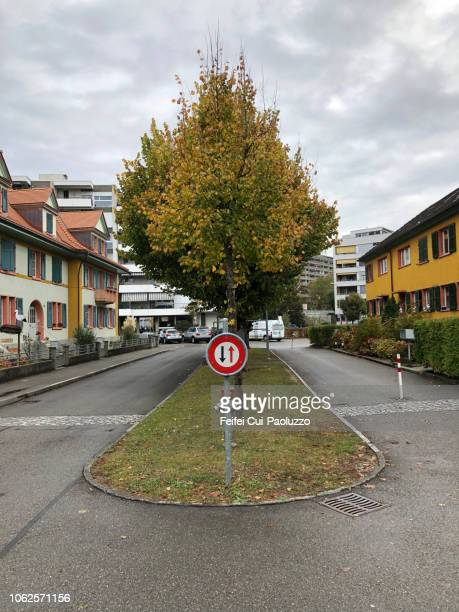 give way on oncoming traffic sign at nidau, switzerland - give way stock pictures, royalty-free photos & images
