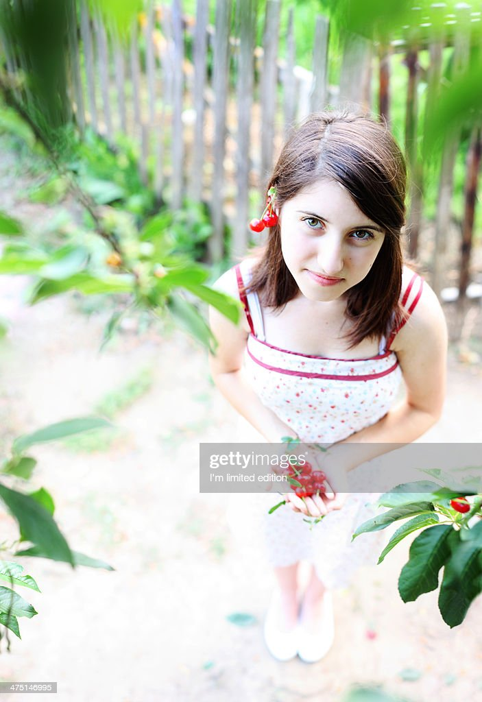 I give you summer and sour cherries : Stock Photo