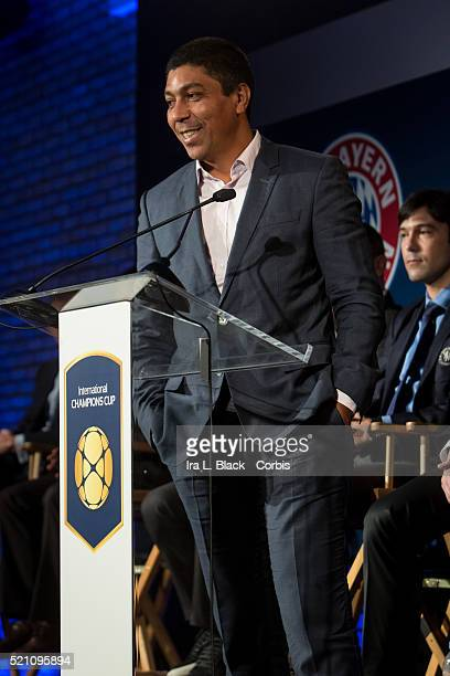 Given Elber of FC Bayern Munchen address the crowd including legends Mauro Tassotti of AC Milan Emilio Butragueno of Real Madrid Youri Djorkaeff of...