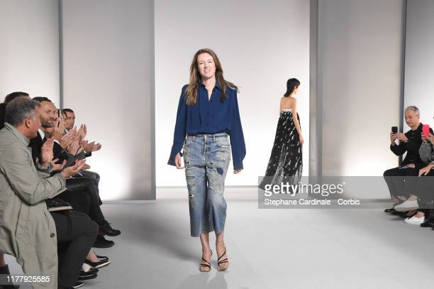 Givenchy designer Clare Waight Keller walks the runway during the Givenchy Womenswear Spring/Summer 2020 show as part of Paris Fashion Week on...