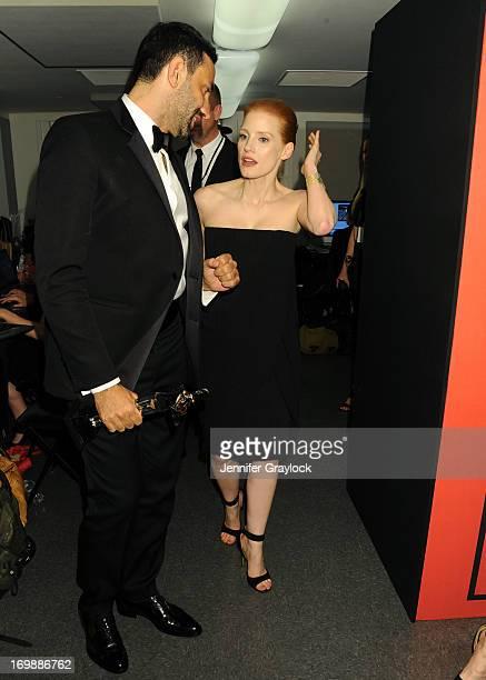 Givenchy fashion designer Riccardo Tisci winner International Award and Actress Jessica Chastain backstage during the 2013 CFDA FASHION AWARDS...
