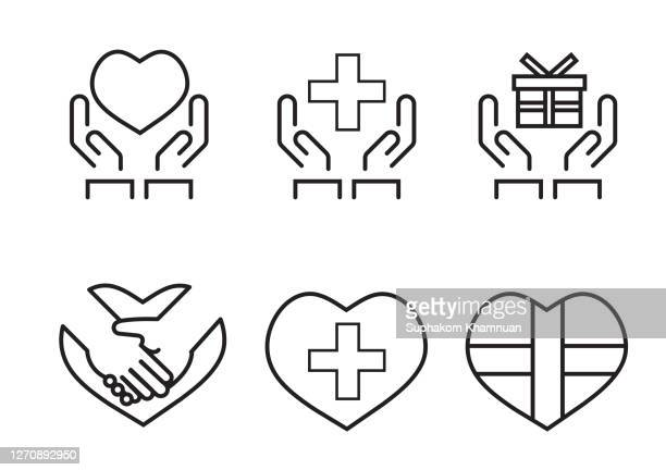giving concept isolated icon set. - logo stock pictures, royalty-free photos & images