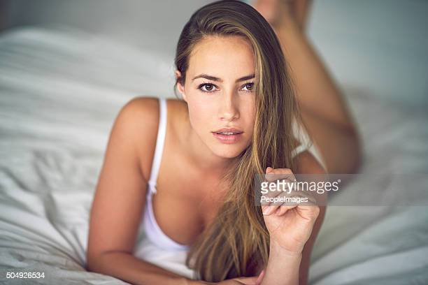 giving you an inviting look - hot babes stock photos and pictures