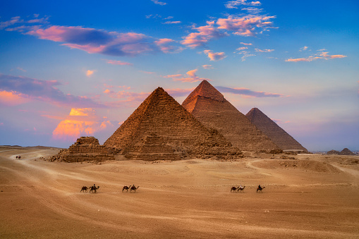 Giza Egypt Pyramids in Sunset Scene, Wonders of the World. - gettyimageskorea