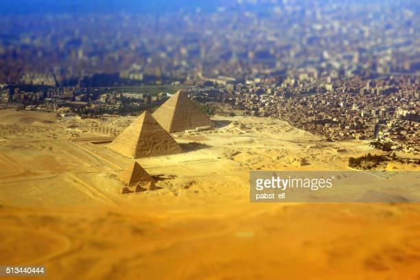giza pyramid complex seen from above - giza pyramids stock pictures, royalty-free photos & images