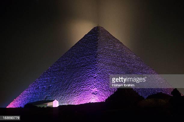 Giza Pyramid illuminated at night, Giza, Egypt