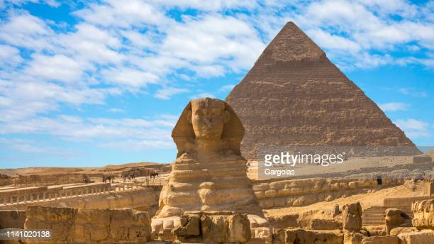 giza pyramids and sphinx in cairo, egypt - pyramid stock pictures, royalty-free photos & images