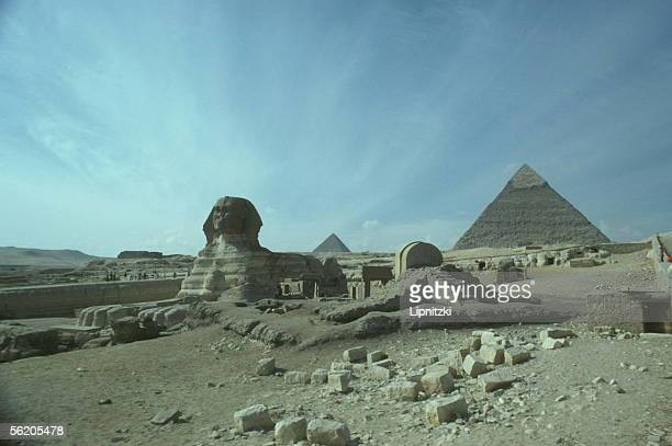 Gizeh The Sphinx and Khephren pyramid 1978
