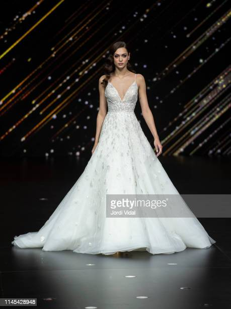 Gizele Oliveira attends Pronovias rehearsal during Valmont Barcelona Bridal Fashion Week at Fira Barcelona Montjuic on April 26 2019 in Barcelona...
