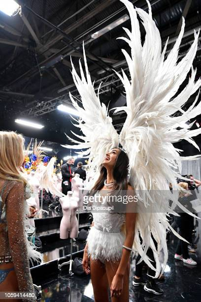 Gizele Oliveira poses backstage during the 2018 Victoria's Secret Fashion Show at Pier 94 on November 8 2018 in New York City