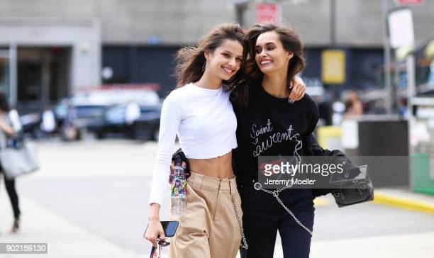 Gizele Oliveira wearing a Saint Laurent shirt Bruna Lírio during the New York Fashion Week on September 08 2017 in New York