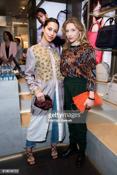 Gizem Emre and Anna Lena Klenke attend the Kater-Imbiss hosted by Samsonite and Kilian Kerner on February 16, 2018 in Berlin, Germany.