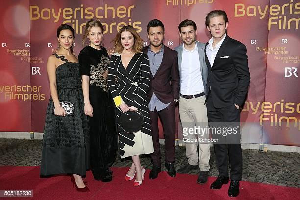Gizem Emre and Anna Lena Klenke, Jella Haase, Aram Arami, Lucas Reiber and Max von der Groeben during the Bavarian Film Award 2016 at...