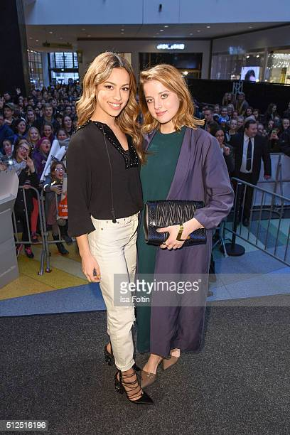 Gizem Emre and Jella Haase during the 'Fack ju Goehte' Autograph Session on February 26 2016 in Berlin Germany