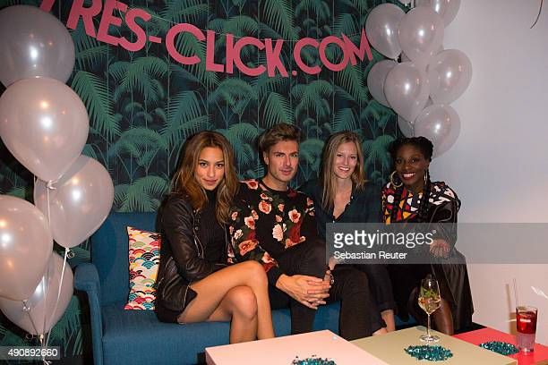 Gizem Emre Andre Borchers Charlotte Cordes and Nikeata Thompson attend the 1st year anniversary celebrations of Tres Click on October 1 2015 in...