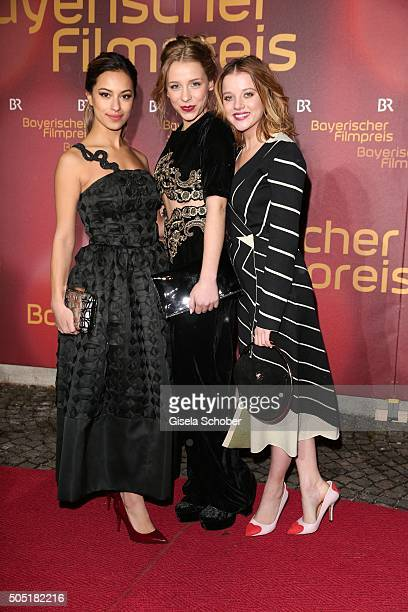 Gizem Emre, Anna Lena Klenke and Jella Haase during the Bavarian Film Award 2016 at Prinzregententheater on January 15, 2016 in Munich, Germany.