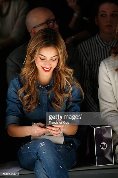 Gizem Emre attends the Laurel show during the MercedesBenz Fashion Week Berlin Autumn/Winter 2016 at Brandenburg Gate on January 20 2016 in Berlin...